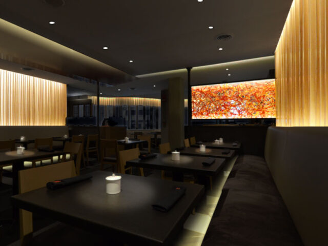 Art Washi Screen At An Upscale Japanese Restaurant