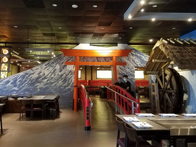 Washi Illuminated Wall Art at a Japanese Steakhouse in FL
