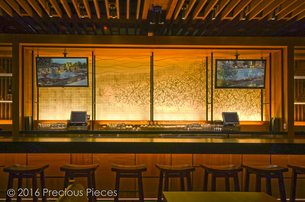 Precious Pieces Designed And Created A Vast 6 Ft X 15 Art Washi Parchment Which Was Laminated With Special Crystal Gl For The Back Wall Of Bar In